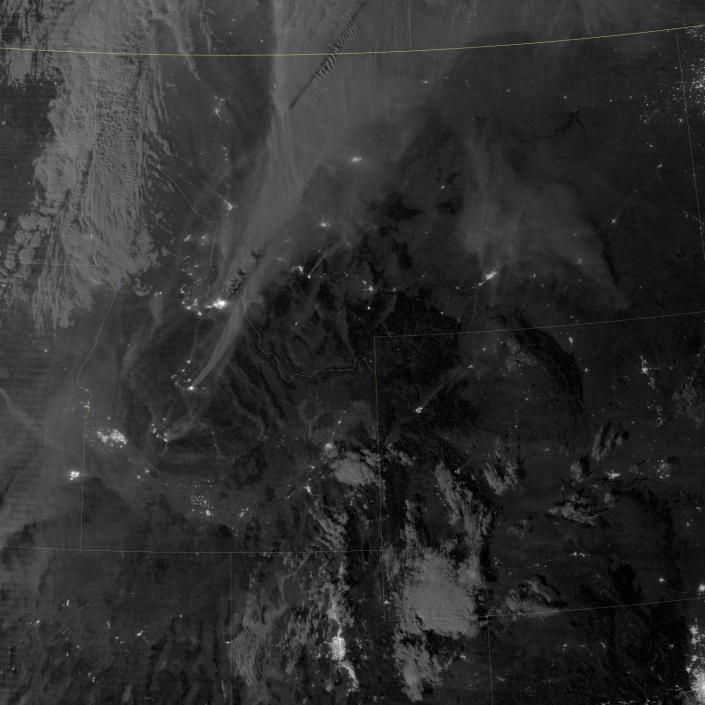 On August 29, 2012, the Visible Infrared Imaging Radiometer Suite (VIIRS) on the Suomi NPP satellite captured this nighttime view of wildfires burning in Idaho and Montana. (NASA)