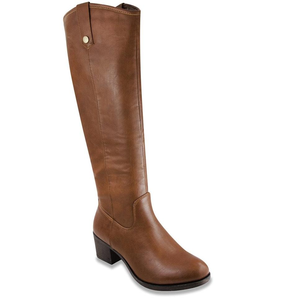 """<br><br><strong>Rampage</strong> Italie Vegan Leather Riding Boot, $, available at <a href=""""https://www.amazon.com/Rampage-Womens-Italie-Riding-Distressed/dp/B01LDHAVF2/ref=sr_1_8"""" rel=""""nofollow noopener"""" target=""""_blank"""" data-ylk=""""slk:Amazon"""" class=""""link rapid-noclick-resp"""">Amazon</a>"""