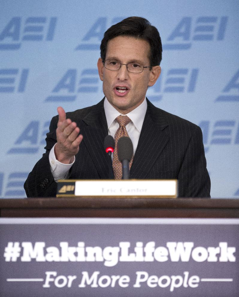 """House Majority Leader Eric Cantor of Va. gestures as he gives a major policy address entitled: """"Making Life Work."""" Tuesday, Feb. 5, 2013, at the American Enterprise Institute (AEI) in Washington.   (AP Photo/Manuel Balce Ceneta)"""