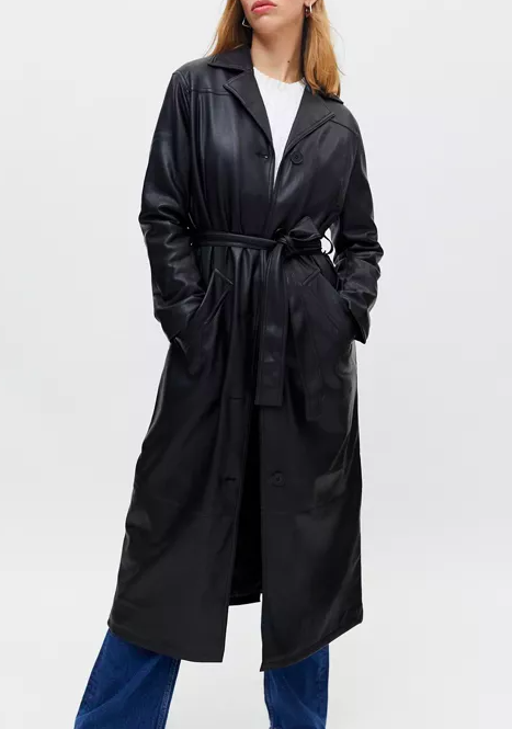 Luna faux-leather trench coat