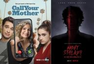 """This combination photo shows art for the comedy series """"Call Your Mother,"""" airing on ABC on Wednesday, left, and the documentary series """"Night Stalker: The Hunt for a Serial Killer, premiering on Jan. 13 on Netflix. (ABC, left, and Netflix via AP)"""
