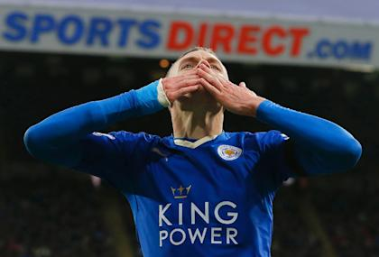 Jamie Vardy's emergence as a top goal scorer paralleled Leicester City's rise. (AFP Photo)