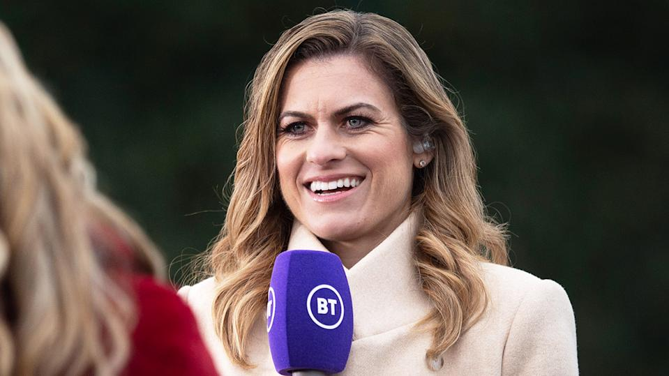 Karen Carney (pictured) during commentary for BT Sport.