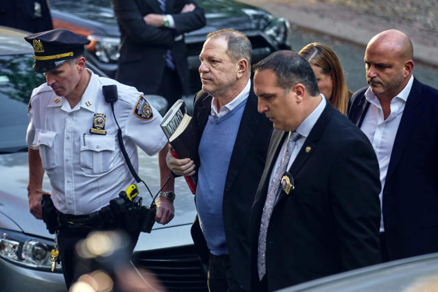 <p>Harvey Weinstein arrives at the first precinct while turning himself in to authorities following allegations of sexual misconduct, Friday, May 25, 2018, in New York. (AP Photo: Andres Kudacki/AP) </p>