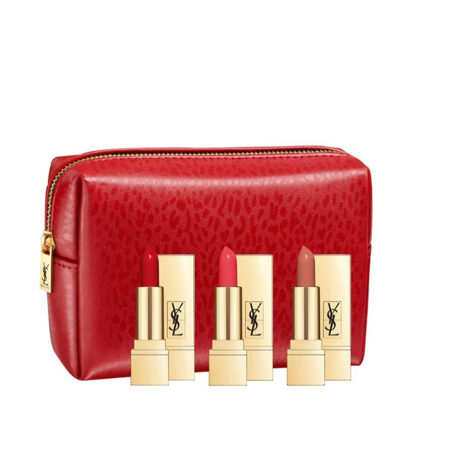"""With shades like blood red,rosy coral and nude, this set of three lipsticks is perfect for the person who loves a bold lip look. TheseYves Saint Laurent lipsticks have a satin finish and creamy texture, too.<a href=""""https://fave.co/3dZqdKE"""" target=""""_blank"""" rel=""""noopener noreferrer"""">Find it for $40 at Nordstrom</a>."""
