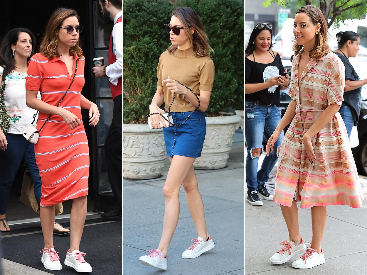 "<p>Aubrey Plaza gave her striped dresses a sporty spin with her <a rel=""nofollow"">white lace-up sneakers</a>. <b>Look for Less:</b> Adidas ""Stan Smith"" sneaker, $60; <a rel=""nofollow"">nordstrom.com</a></p>"