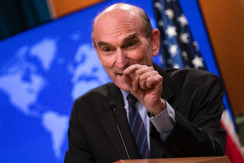 US Special Representative for Venezuela Elliott Abrams speaks with reporters during a briefing at the State Department on June 25, 2019 in Washington (AFP Photo/Alex Edelman)