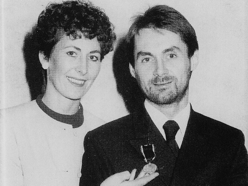 Anne Homewood with husband Stephen on the day he was awarded the silver life-saving medal of the Order of St John (Bloomsbury)