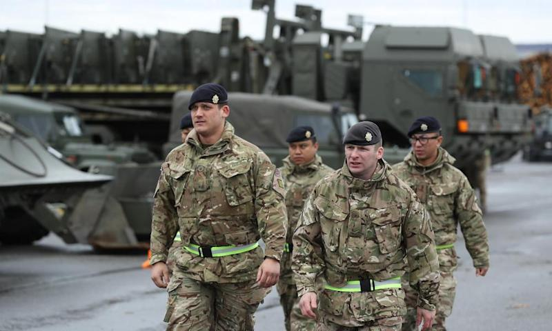 British soldiers and equipment in Estonia