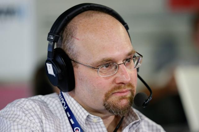 """Glenn Thrush records an episode of """"The Press Pool"""" on July 20, 2016. (Kirk Irwin via Getty Images)"""