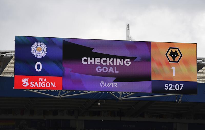 Scoreboard showing Leander Dendoncker of Wolverhampton Wanderers had his goal cancelled out after a VAR decision during the Premier League match between Leicester City and Wolverhampton Wanderers at The King Power Stadium in Leicester on August 11, 2019. (Photo by Sam Bagnall - AMA/Getty Images)