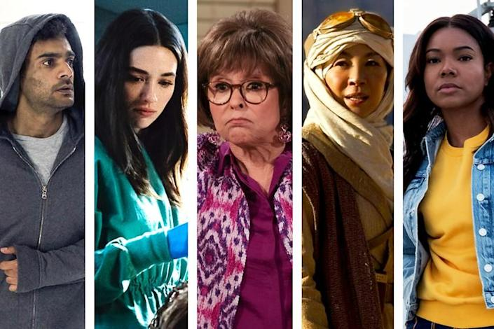 "From left: Hamza Haq in ""Transplant""; Crystal Reed in ""Swamp Thing""; Rita Moreno in ""One Day At A Time""; Michelle Yeoh in ""Star Trek: Discovery""; and Gabrielle Union in ""LA's Finest."" <span class=""copyright"">(NBC/Warner Bros./Pop TV/CBS/Fox)</span>"