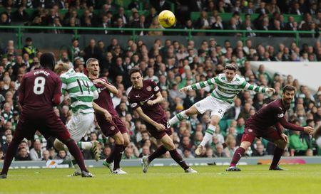 Britain Football Soccer - Celtic v Heart of Midlothian - Scottish Premiership - Celtic Park - 21/5/17 Celtic's Patrick Roberts shoots at goal Reuters / Russell Cheyne