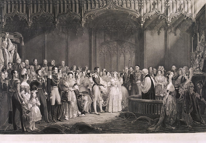 Queen Victoria weds Prince Albert at St. James's Palace in 1840. She had been escorted down the aisle byher favorite uncle. (Heritage Images via Getty Images)