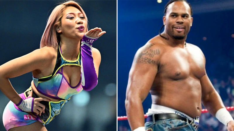 Hana Kimura and Shad Gaspard, pictured here in Japanese wrestling and the WWE.