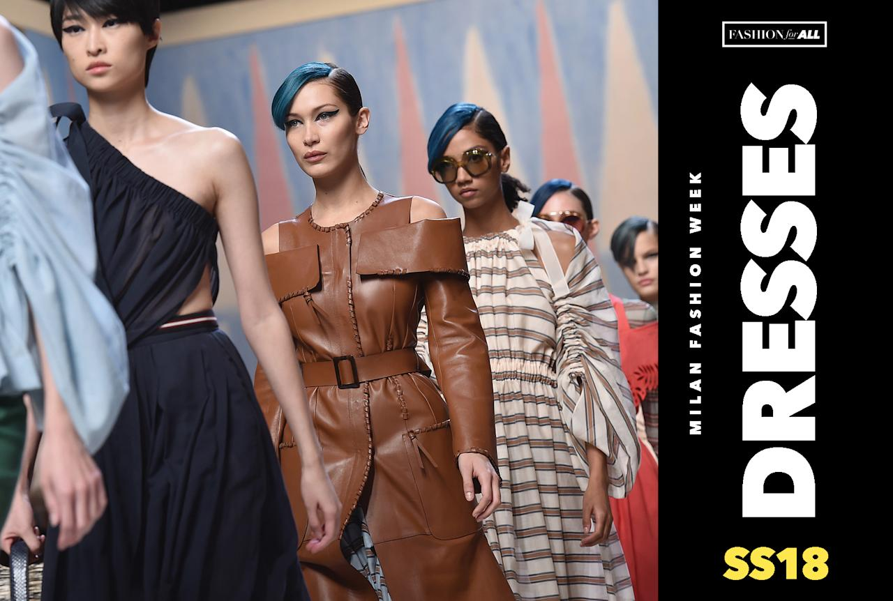 <p>See all of the best dresses from Milan Fashion Week. (Photo: Getty Images, Art: Quinn Lemmers for Yahoo Style) </p>