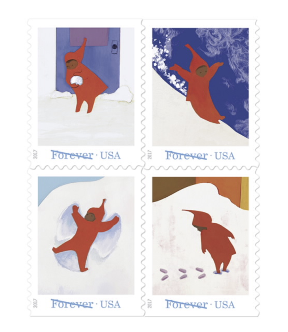 "<p>usps.com</p><p><strong>$11.00</strong></p><p><a href=""https://store.usps.com/store/product/buy-stamps/the-snowy-day-S_676104"" rel=""nofollow noopener"" target=""_blank"" data-ylk=""slk:Shop Now"" class=""link rapid-noclick-resp"">Shop Now</a></p><p>There is really no excuse not to buy books of this adorable stamp collection honoring Ezra Jack Keats' 1962 children's book <em>The Snowy Day.</em> They will make your annual holiday cards much sweeter. </p>"