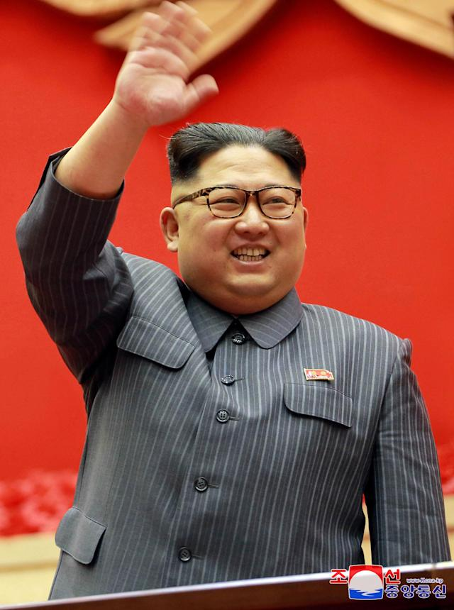 <p>North Korean leader Kim Jong Un makes a closing remark at 5th Conference of Cell Chairpersons of the Workers' Party of Korea (WPK) on December 23 in this photo released by North Korea's Korean Central News Agency (KCNA) in Pyongyang December 24, 2017. KCNA/via REUTERS ATTENTION EDITORS – THIS IMAGE WAS PROVIDED BY A THIRD PARTY. REUTERS IS UNABLE TO INDEPENDENTLY VERIFY THIS IMAGE. SOUTH KOREA OUT. NO THIRD PARTY SALES. NOT FOR USE BY REUTERS THIRD PARTY DISTRIBUTORS TPX IMAGES OF THE DAY </p>