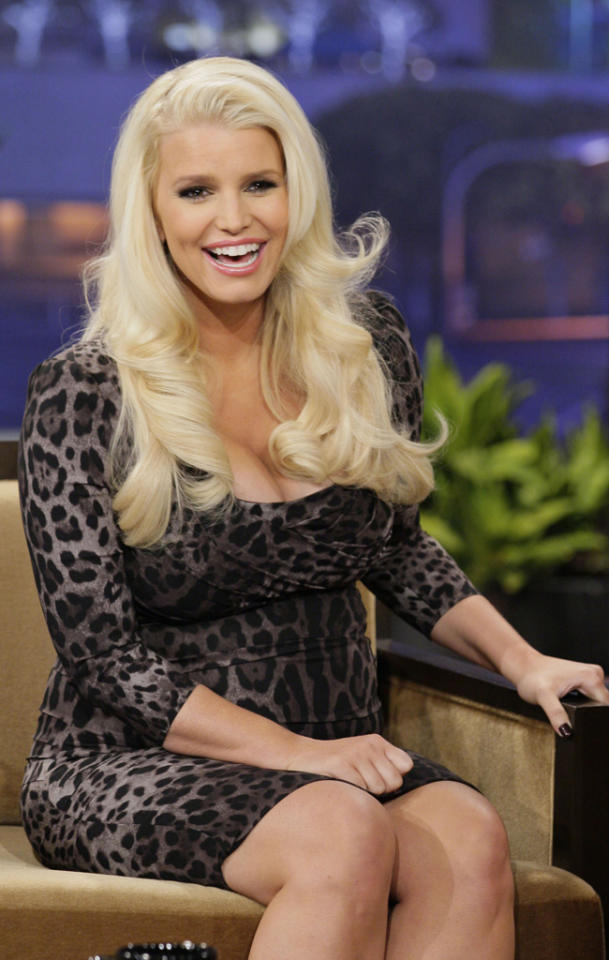 THE TONIGHT SHOW WITH JAY LENO -- Episode 4388 -- Pictured: Jessica Simpson during an interview on January 15, 2013 -- (Photo by: Paul Drinkwater/NBC/NBCU Photo Bank)