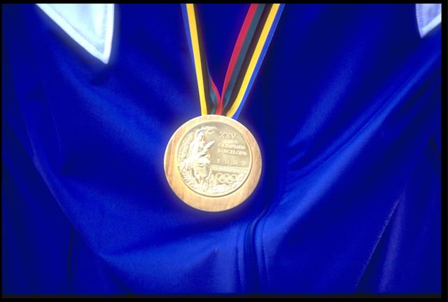 A close-up of a gold medal from the 1992 Barcelona Olympics. (Getty Images)
