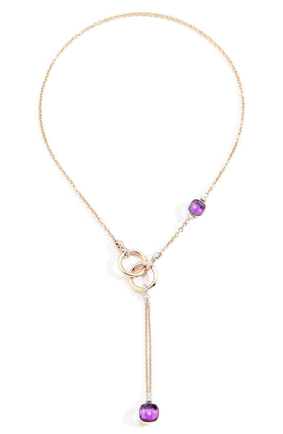 """<p><strong>Pomellato</strong></p><p>nordstrom.com</p><p><strong>$12500.00</strong></p><p><a href=""""https://go.redirectingat.com?id=74968X1596630&url=https%3A%2F%2Fwww.nordstrom.com%2Fs%2Fpomellato-nudo-amethyst-lariat-necklace%2F5901143&sref=https%3A%2F%2Fwww.townandcountrymag.com%2Fstyle%2Fjewelry-and-watches%2Fg37368162%2Ffine-jewelry-brands-at-nordstrom%2F"""" rel=""""nofollow noopener"""" target=""""_blank"""" data-ylk=""""slk:Shop Now"""" class=""""link rapid-noclick-resp"""">Shop Now</a></p><p>The Italian jeweler's playful designs are known for bright pops of color with uniquely cut stones. </p>"""