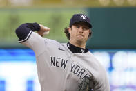 New York Yankees starting pitcher Gerrit Cole throws during the first inning of a baseball game against the Detroit Tigers, Friday, May 28, 2021, in Detroit. (AP Photo/Carlos Osorio)