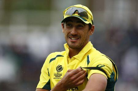 Britain Cricket - Australia v Bangladesh - 2017 ICC Champions Trophy Group A - The Oval - June 5, 2017 Australia's Mitchell Starc at the end of the innings Action Images via Reuters / Peter Cziborra Livepic