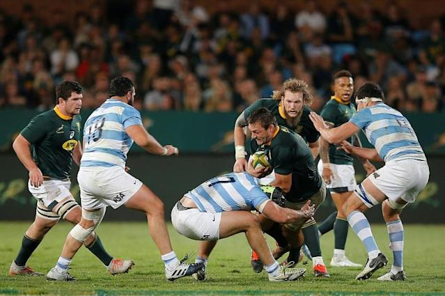 South Africa flanker Rynhardt Elstadt is tackled by Argentina prop Nahuel Tetaz Chaparro during a World Cup warm-up Test in Pretoria last Saturday (AFP Photo/MARCO LONGARI)