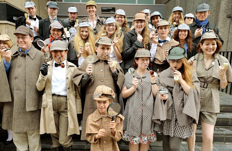 Fans of Sherlock Holmes gather dressed as Sherlock Holmes, as they attempt to set a Guinness World Record attempt for the greatest number of people dressed as the famous sleuth, at the UCL (University College London).