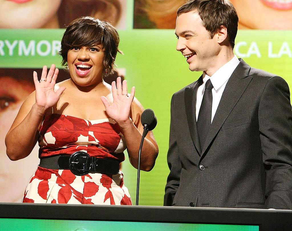 "In happier news, actors Chandra Wilson and Jim Parsons announced this year's Emmy nominees on Thursday -- and both were shocked to find their own names among those honored. ""30 Rock"" led the pack with 22 nods. Alexandra Wyman/<a href=""http://www.wireimage.com"" target=""new"">WireImage.com</a> - July 16, 2009"