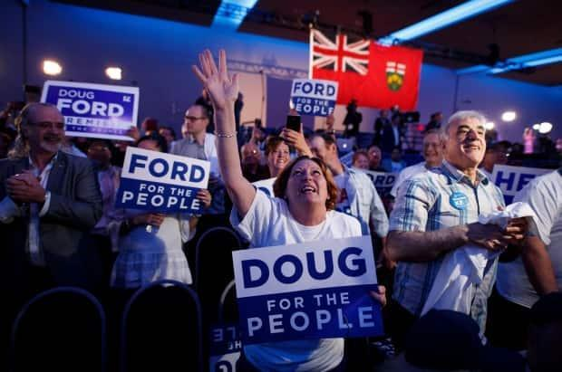 Supporters react after learning Doug Ford won a majority government in the last Ontario Provincial election in Toronto. (Mark Blinch/Canadian Press - image credit)