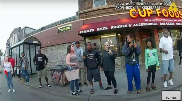 PHOTO: An image of witnesses at the scene from Officer Thao's body camera, during the arrest of George Floyd in Minneapolis, May 25, 2020, exhibited during the trial of former police officer Derek Chauvin. (Minneapolis Police Dept.)