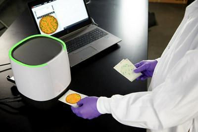 The 3M Petrifilm Plate Reader Advanced can improve laboratory efficiency with fixed artificial intelligence (AI) networks to enumerate 3M Petrifilm Plates, which can get users results in 4–6 seconds, or up to 900 plates per hour. The 3M Petrifilm Plate Reader Advanced provides accurate colony counting with proactive, easy-to-use software that simplifies results storage and data analytics, plus produces automated data and reports. (PRNewsFoto/3M)