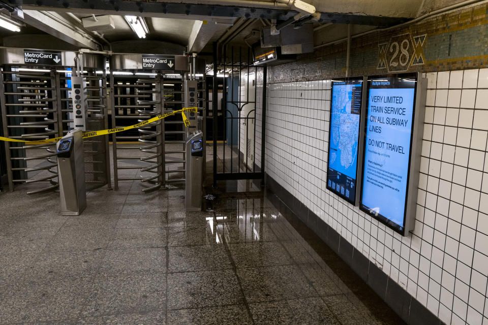 A subway station that had earlier flooded remains closed after a state of emergency was declared in New York Thursday, Sept 2, 2021, as the remnants of Hurricane Ida remained powerful as it moved along the Eastern seaboard. (AP Photo/Craig Ruttle)