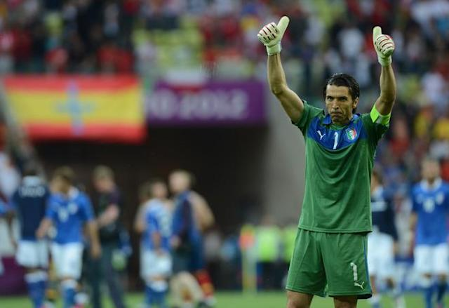 Italian goalkeeper Gianluigi Buffon wave at the end of the Euro 2012 championships football match Spain vs Italy on June 10, 2012 at the Gdansk Arena. AFP PHOTO / CHRISTOF STACHECHRISTOF STACHE/AFP/GettyImages