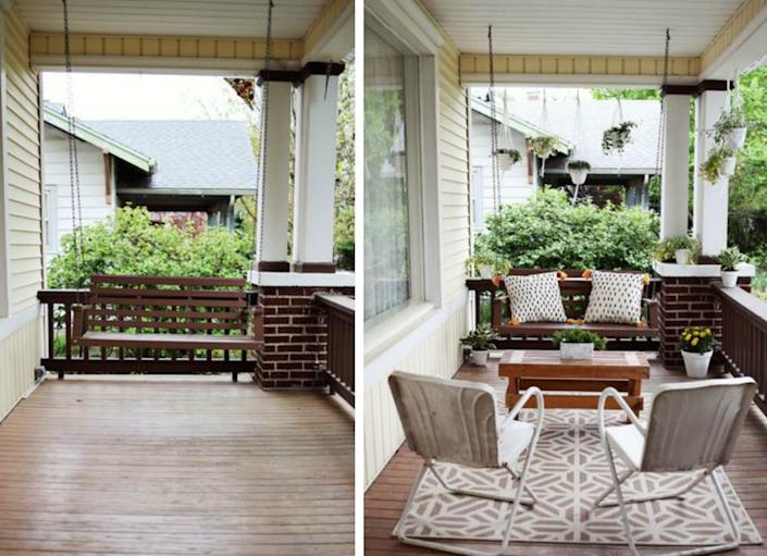"""<body> <p>Sometimes all you need to do is add decorative elements to transform a space from blah to beautiful. This front <a href="""" http://www.bobvila.com/porch-style/45791-10-inventive-ideas-for-a-perfect-porch/slideshows#.VQmg5mTF8bo?bv=yahoo"""" rel=""""nofollow noopener"""" target=""""_blank"""" data-ylk=""""slk:porch"""" class=""""link rapid-noclick-resp"""">porch</a> becomes a bona fide extra room in warm weather, thanks to the addition of a rug, outdoor furniture, throw pillows, and plants. What a great first impression for anyone who arrives at the door!</p> <p><strong>Related: <a href="""" http://www.bobvila.com/hang-some-drapes/47545-9-budget-friendly-ways-to-revive-your-porch-for-summer/slideshows?bv=yahoo"""" rel=""""nofollow noopener"""" target=""""_blank"""" data-ylk=""""slk:9 Budget-Friendly Ways to Revive Your Porch for Summer"""" class=""""link rapid-noclick-resp"""">9 Budget-Friendly Ways to Revive Your Porch for Summer</a> </strong> </p> </body>"""