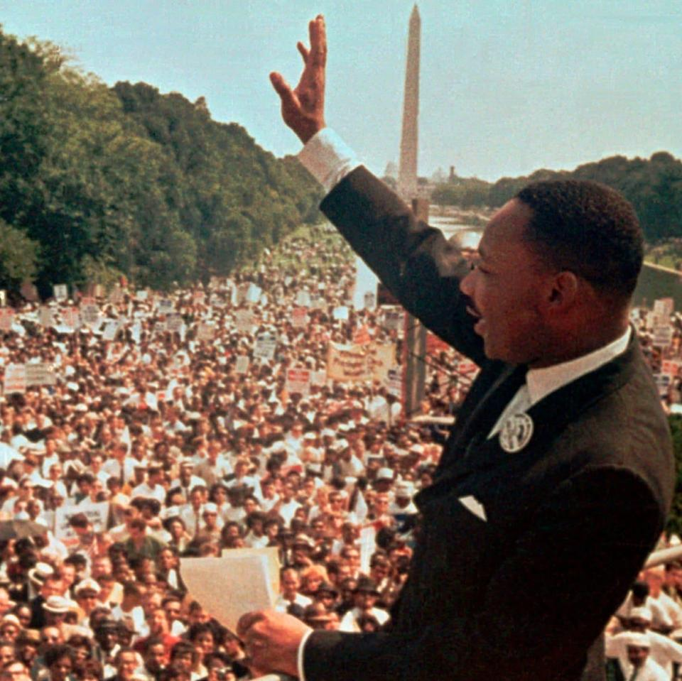 Dr. Martin Luther King Jr making his 'I have a dream' speech at the Lincoln Memorial, 1963 - AP