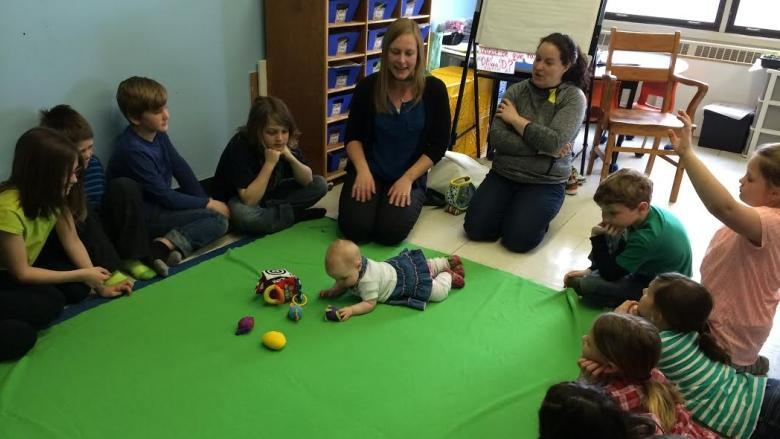 Baby Sadie teaches Quispamsis students about empathy