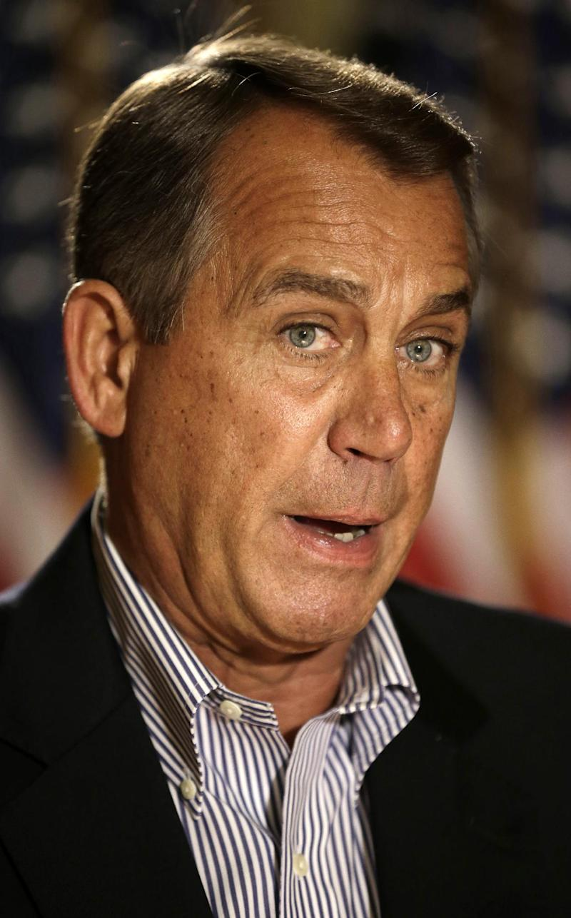 House Speaker John Boehner of Ohio speaks during a news conference on Capitol Hill in Washington, Friday, Dec. 7, 2012, to discuss the pending fiscal cliff.  Boehner said there's been no progress in negotiations on how to avoid the fiscal cliff of tax hikes and spending cuts and called on President Barack Obama to come up with a new offer.  (AP Photo/Pablo Martinez Monsivais)