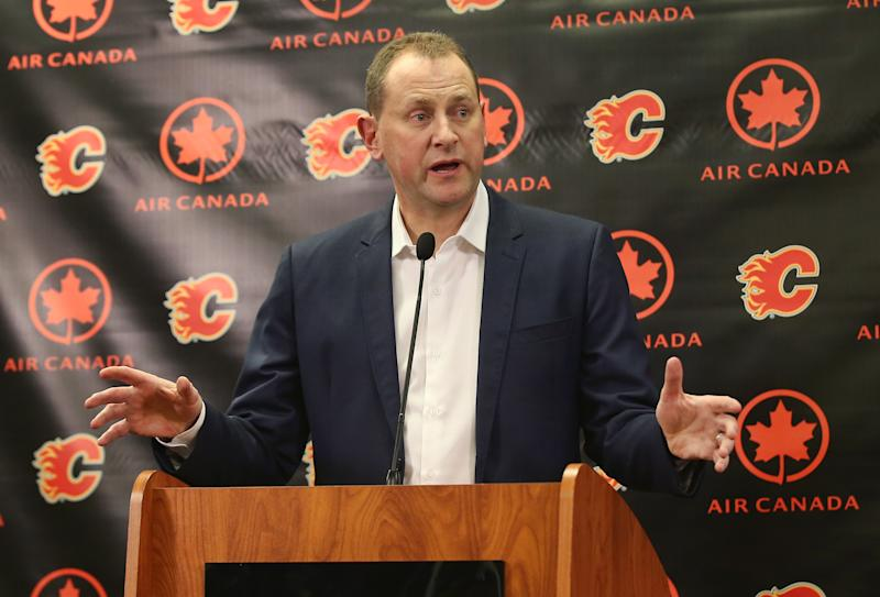 CALGARY, CANADA - FEBRUARY 27: General manager Brad Treliving of the Calgary Flames address the media before the trade deadline prior to the team's NHL game against the Ottawa Senators at the Scotiabank Saddledome on February 27, 2016 in Calgary, Alberta, Canada. (Photo by Tom Szczerbowski/Getty Images)
