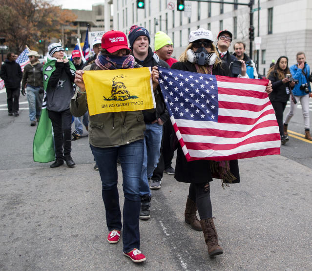 <p>Participants of an Alt-Right organized free speech event march from the Boston Common back to their vehicles on Nov. 18, 2017, in Boston, Mass. (Photo: Scott Eisen/Getty Images) </p>