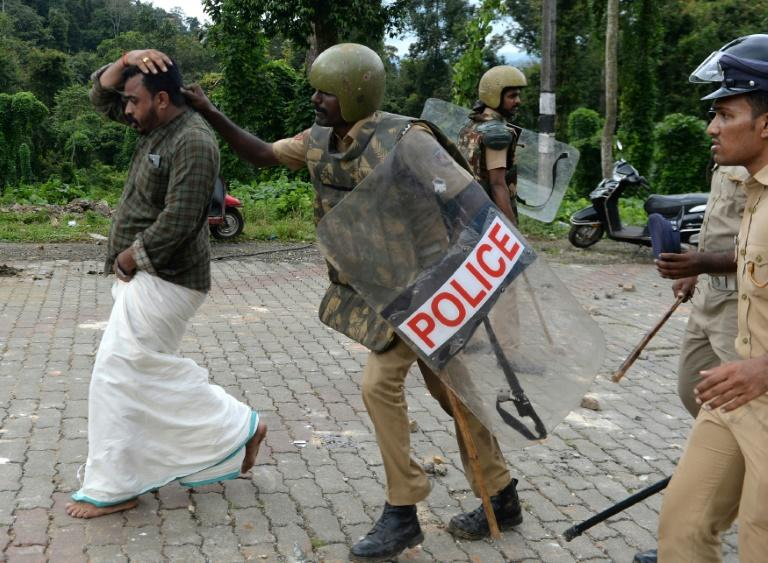 There have been clashes on roads leading up to the temple, with conservative Hindus determined that women will not be admitted