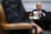 President Joe Biden participates virtually in the CEO Summit on Semiconductor and Supply Chain Resilience in the Roosevelt Room of the White House, Monday, April 12, 2021, in Washington. (AP Photo/Patrick Semansky)