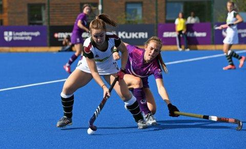 Surbiton's Alice Sharp and Loughborough's Maddie Pearce in action
