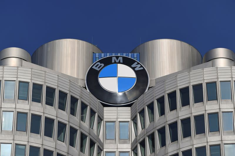 FILE PHOTO: The logo of German car manufacturer BMW is seen on the company headquarters in Munich