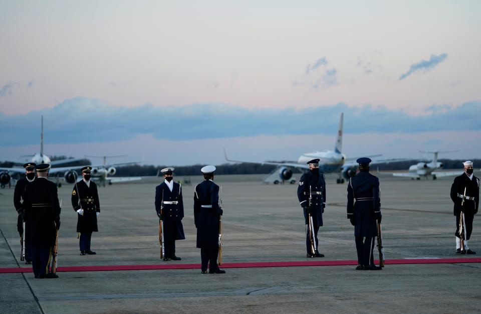 Preparations are made at Joint Base Andrews in Maryland for the departure of outgoing US President Donald Trump on January 20, 2021. - President Trump travels to his Mar-a-Lago golf club residence in Palm Beach, Florida, and will not attend the inauguration for President-elect Joe Biden. (Photo by ALEX EDELMAN / AFP) (Photo by ALEX EDELMAN/AFP via Getty Images)