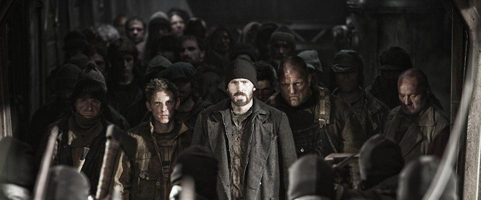 "<p><em>Snowpiercer</em> is a bizarre, post-apocalyptic adventure that takes place entirely on a train, but as weird as the premise sounds, it works. There's something about bearded Chris Evans, gorgeous sets, plot twists, and the oddest New Year's celebration ever filmed that make the movie completely unforgettable. </p><p><a class=""link rapid-noclick-resp"" href=""https://www.amazon.com/dp/B00LFF3MKO?tag=syn-yahoo-20&ascsubtag=%5Bartid%7C10049.g.14505050%5Bsrc%7Cyahoo-us"" rel=""nofollow noopener"" target=""_blank"" data-ylk=""slk:Watch"">Watch</a></p>"