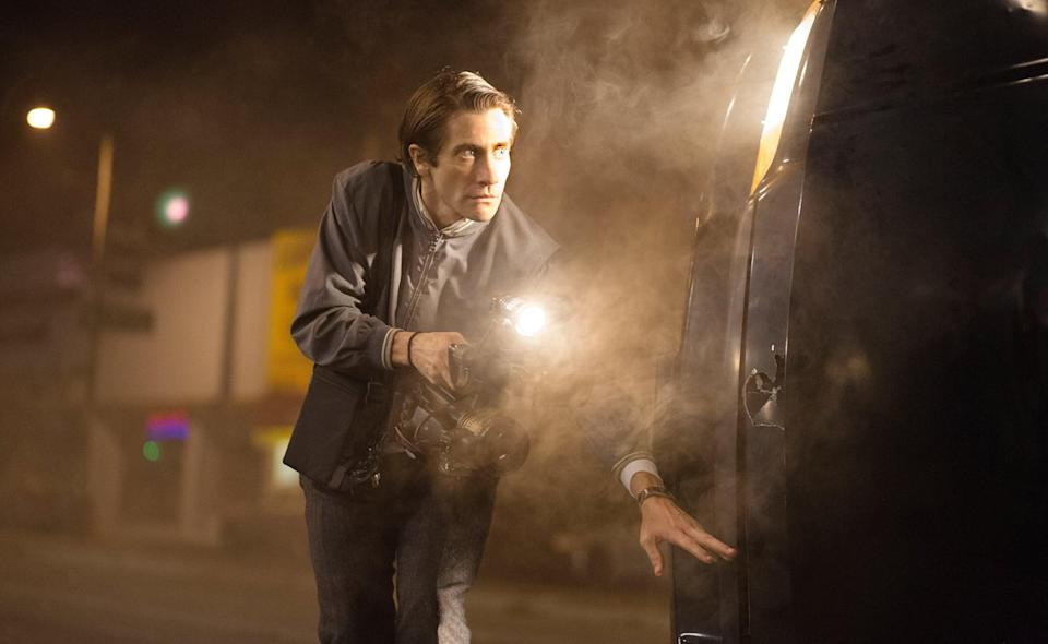 """<p><strong>Nightcrawler</strong>, starring <a class=""""link rapid-noclick-resp"""" href=""""https://www.popsugar.com/Jake-Gyllenhaal"""" rel=""""nofollow noopener"""" target=""""_blank"""" data-ylk=""""slk:Jake Gyllenhaal"""">Jake Gyllenhaal</a>, made quite the splash when it landed on the cinema scene in 2014. Gyllenhaal plays a man who is obsessed with selling breaking news footage to a news station, so much so that he goes to dangerous lengths to get ahold of the footage.</p> <p><a href=""""http://www.netflix.com/title/7029518"""" class=""""link rapid-noclick-resp"""" rel=""""nofollow noopener"""" target=""""_blank"""" data-ylk=""""slk:Watch Nightcrawler on Netflix now."""">Watch <strong>Nightcrawler</strong> on Netflix now.</a></p>"""