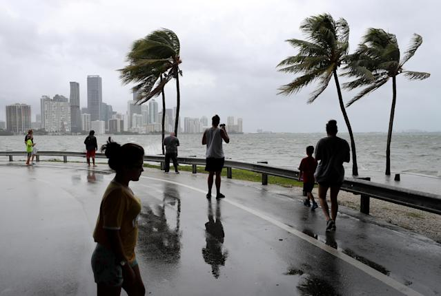 <p>The winds and sea are whipped up off of the Rickenbacker Causeway in Miami as Hurricane Irma approaches on Saturday, Sept. 9, 2017. (Mike Stocker/Sun Sentinel/TNS via Getty Images) </p>