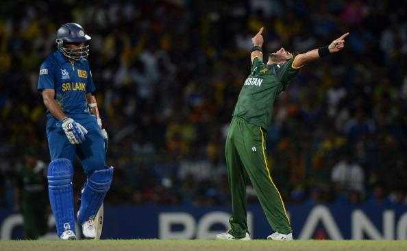 COLOMBO, SRI LANKA - OCTOBER 04:  Shahid Afridi of Pakistan celebrates dismissing Sri Lanka captain Mahela Jayawardene during the ICC World Twenty20 2012 Semi Final between Sri Lanka and Pakistan at R. Premadasa Stadium on October 4, 2012 in Colombo, Sri Lanka.  (Photo by Gareth Copley/Getty Images)